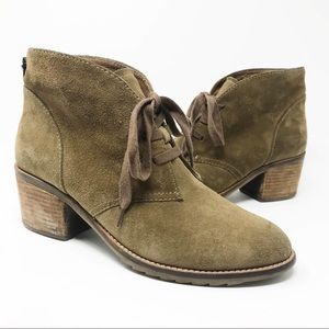 Biala Gia Tan Leather Suede Lace Up Booties 40
